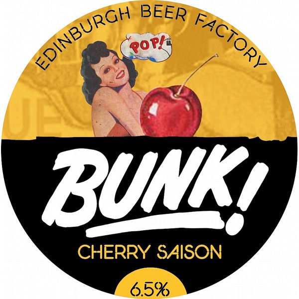 BUNK! Cherry Saison Oval Fisheye Badge