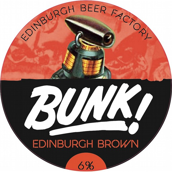 BUNK! Edinburgh Brown Oval Fisheye Badge