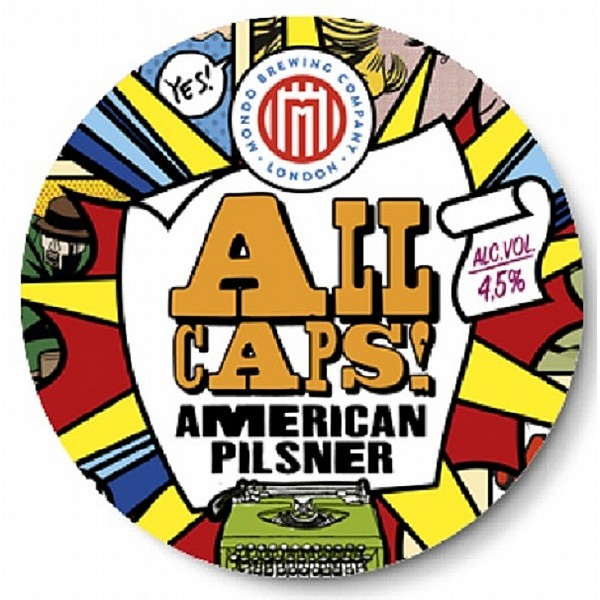 Mondo ALL CAPS! Pilsner Round Flat Badge