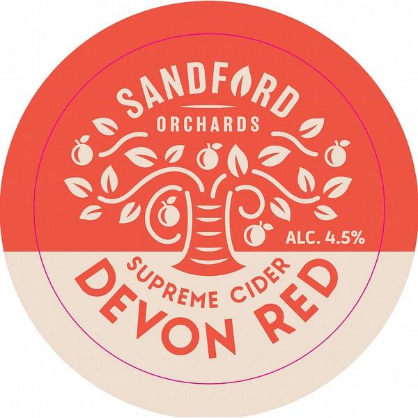 Sandford Orch Devon Red Oval Fisheye Badge